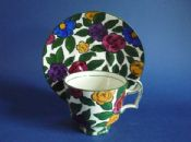 Unusual Cauldon Floral Coffee Cup and Saucer c1915 #1